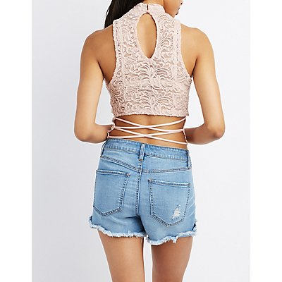 Caged Lace Mock Neck Top