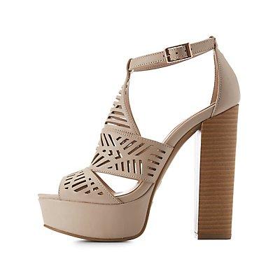 Laser Cut Platform Sandals