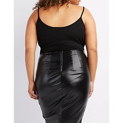 Plus Size Ribbed Strappy Bodysuit