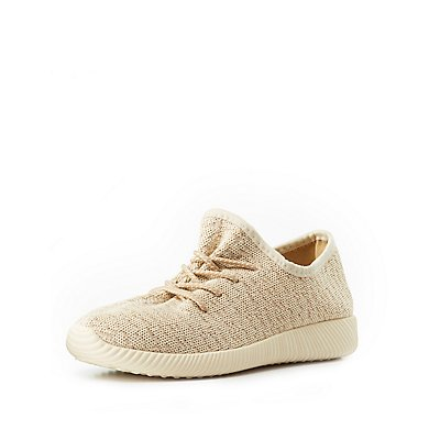 Marled Knit Lace-Up Sneakers