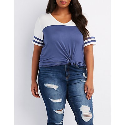 Plus Size Varsity Stripe T-Shirt