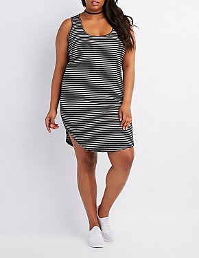 Plus Size Striped Bodycon Midi Dress