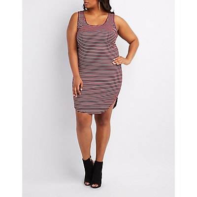 Plus Size Striped Bodycon Midi Dress