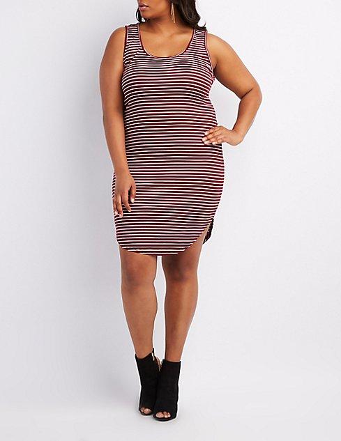 Plus Size Striped Bodycon Midi Dress Charlotte Russe