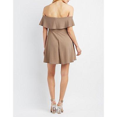 Ruffle Off-The-Shoulder Skater Dress