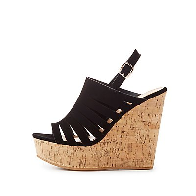 Bamboo Caged Cork Wedge Sandals