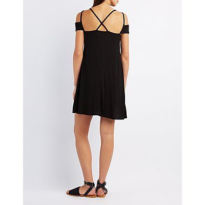 Strappy Cold Shoulder Shift Dress