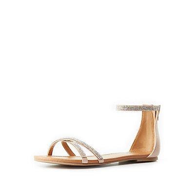 Rhinestone Two-Piece Flat Sandals