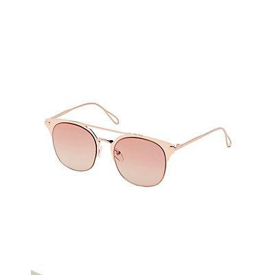 Metal Retro Brow Bar Sunglasses
