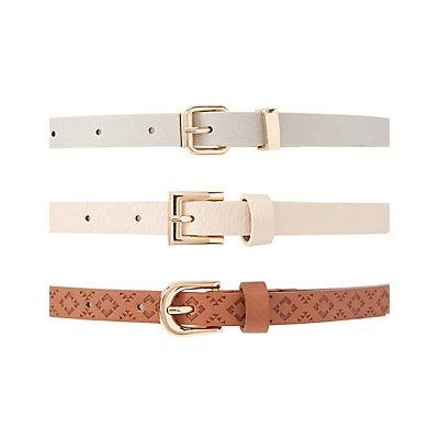 Studded & Stamped Belts - 3 Pack