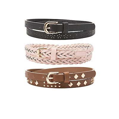 Studded, Laser Cut & Braided Belts - 3 Pack