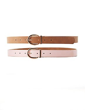 Plus Size Reversible Faux Leather Belt