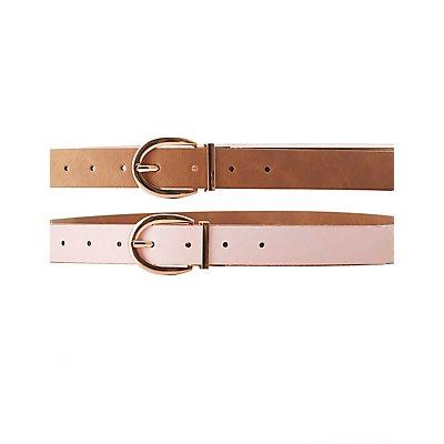 Plus Size Reversible Faux Leather Belt