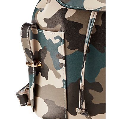 Camo Faux Leather Backpack
