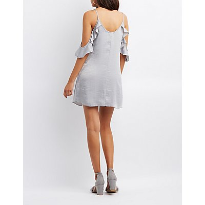 Ruffle Cold Shoulder Shift Dress