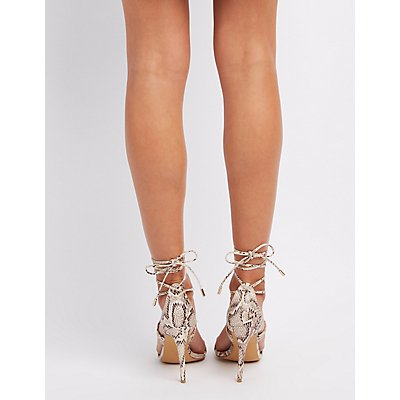 Lace-Up Faux Snakeskin Sandals