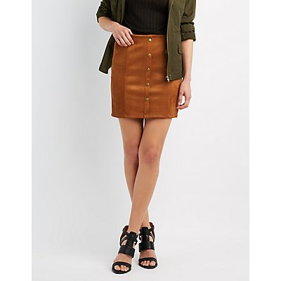 Faux Suede Button-Up Skirt