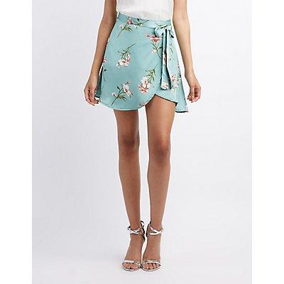 Satin Floral Wrap Skirt