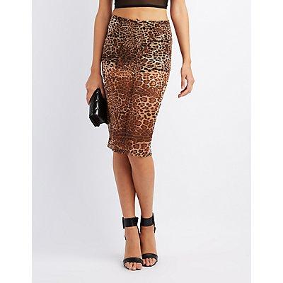 Leopard Mesh Pencil Skirt