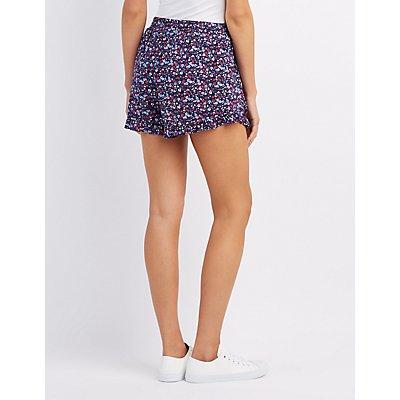 Floral Ruffle-Trim Tulip Shorts