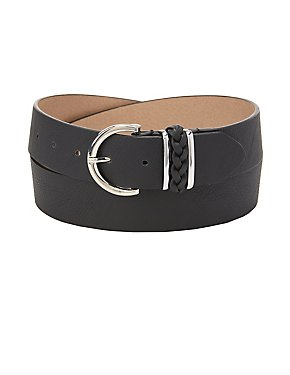 Plus Size Braided-Trim Belt