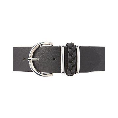 Plus Size Braided-Trim Belt