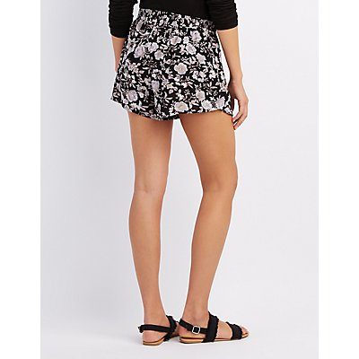 Floral Tied Wrap Shorts