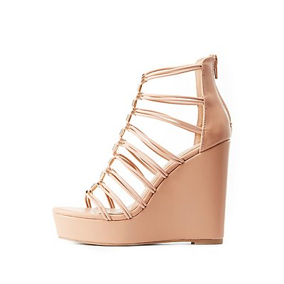 Metal-Tipped Caged Wedge Sandals