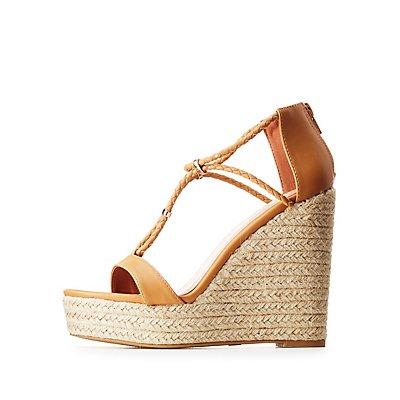 Gold-Trim Braided Espadrille Wedge Sandals