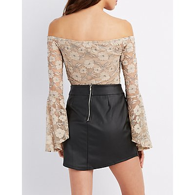 Metallic Lace Off-The-Shoulder Top