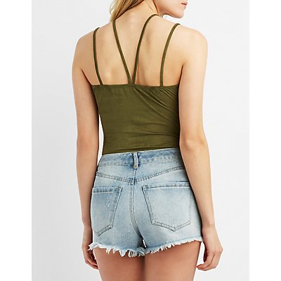 Faux Suede Strappy Caged Bodysuit