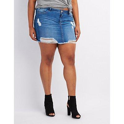 Plus Size Destroyed Denim Skirt