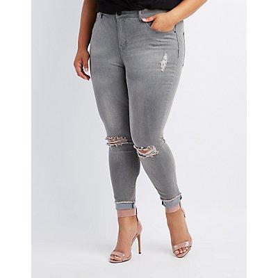 Plus Size Refuge Hi-Rise Skinny Destroyed Jeans