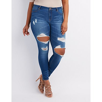 Plus Size Refuge Skin Tight Legging Destroyed Jeans