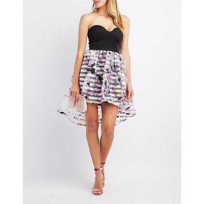 Strapless Floral Skirt High-Low Dress