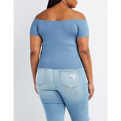 Plus Size Ribbed Off-The-Shoulder Skimmer Top