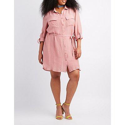 Plus Size Gauze Button-Up Shirt Dress