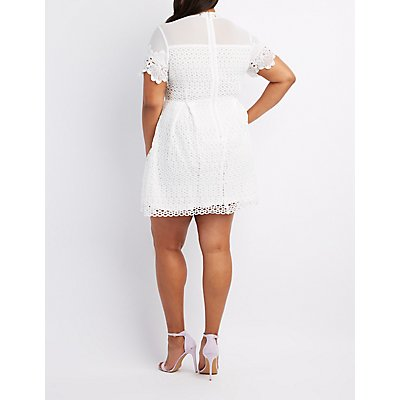 Plus Size Crochet & Mesh Trim Skater Dress