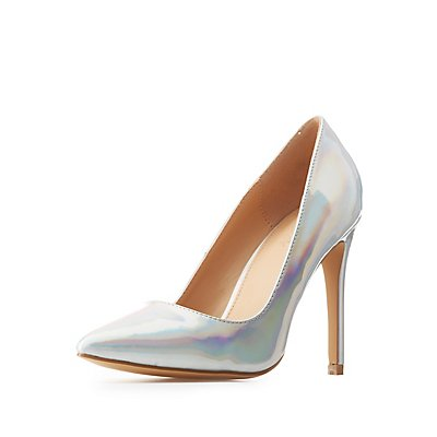 Holographic Pointed Toe Pumps