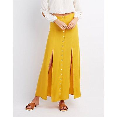 Double Slit Button-Up Maxi Skirt