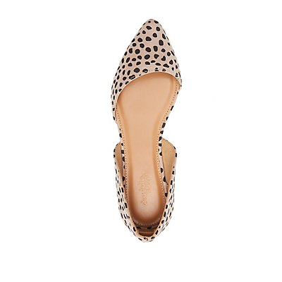 Cheetah Pointed Toe D'Orsay Flats