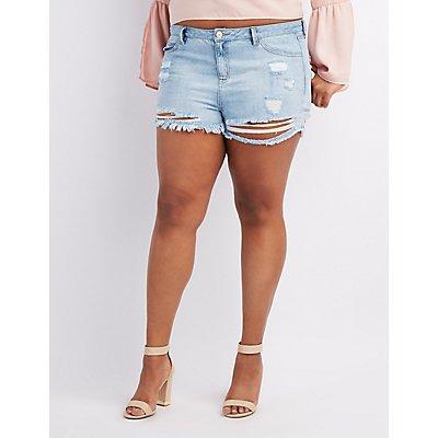 Plus Size Refuge Hi-Rise Cheeky Destroyed Denim Shorts