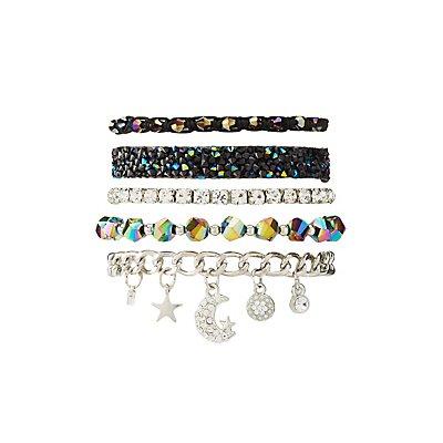 Crystal & Beaded Layering Bracelets - 5 Pack