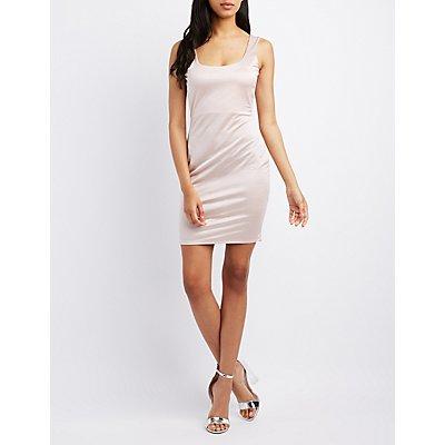 Satin Scoop Neck Bodycon Dress
