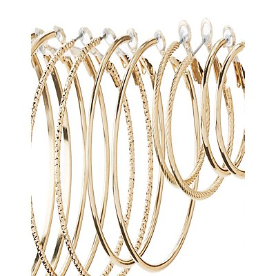 Smooth & Textured Hoop Earrings - 6 Pack