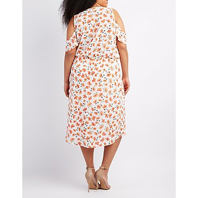 Plus Size Floral Cold Shoulder Wrap Dress