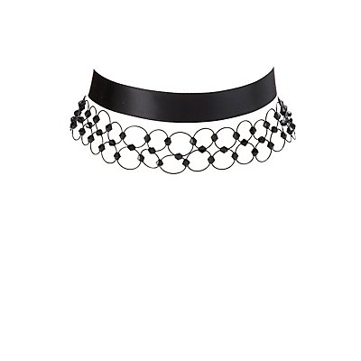 Beaded Tattoo & Ribbon Choker Necklaces - 2 Pack
