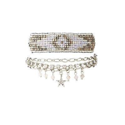 Embellished Beaded Layering Bracelets - 2 Pack