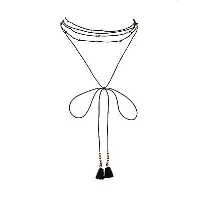 Beaded, Tie & Tassel Choker Necklace
