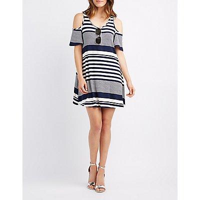Striped Cold Shoulder Swing Dress